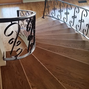 curved wood floor staircase